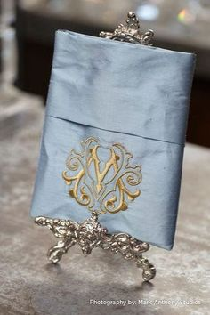 Monogram French blue silk textile, gifts, linens, silk, French silk