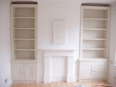 units in chimney breast alcoves Alcove Storage, Alcove Shelving, Alcove Cupboards, Built In Cupboards, Shelving Design, Easy Storage, Extra Storage, Living Room Shelves, Fireplaces