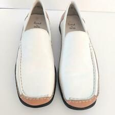 Rene Ara Echt Leather Mens Shoes Slip On Sz 8.5 Shoes 2 Tone White Tan ❤️ #mensfashion $34.99
