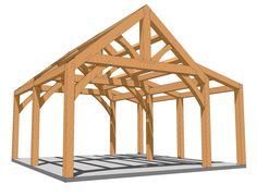 This small 20x20 timber frame plan features a king post truss with a shed roof, perfect for a cabin, garage or shed, no matter what it will be fun project.