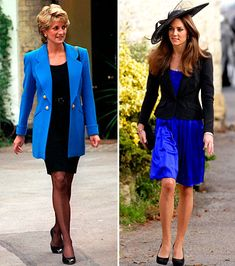 Black & Blue: Diana topped her LBD with an electric blue blazer. Kate toned down her bright dress with a simple black jacket.