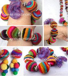 """Bracelet et boucles d'oreilles """"le goût du bonheur"""" - laines feutrées - pièce unique : Bracelet par agnes-mordance                                                                                                                                                                                 Plus"""