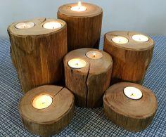 forêt de bougeoirs en bois naturels et écolo-chic : Luminaires par atelier-art-b