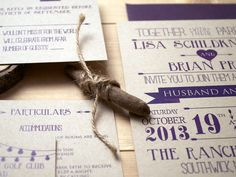 eggplant wedding invite by Woodward Paper Co