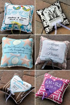 Customized ring bearer pillow. Could DIY with sheet music fabric! :)