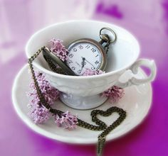 """Time is all we've got, really.""  #GoodMorning  #HappyFriday #DailyQuotes #Quotes #Life #Time #TeaCup #Watch #Pink #Photography #Hearts #QuotesOfLife"