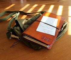 Handmade leather AnachronistInc journal with Banditapple sketchbook and Midori calendar inserts. #fauxdori #anachronistinc #midori #fauxdori