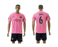 Barcelona #6 Xavi Pink Training Soccer Club Jersey