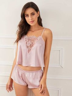 To find out about the Floral Lace Satin Cami With Shorts at SHEIN IN, part of our latestSexy Lingerie ready to shop online today! Cute Sleepwear, Lingerie Sleepwear, Lingerie Set, Women Lingerie, Lingerie Dress, Fashion News, Fashion Outfits, Womens Pyjama Sets, Satin Cami