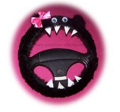 Fuzzy Monster Roar black steering wheel cover pink bow faux fur fluffy furry car truck van jeep cute googly eyes teeth dragon truck suv fun van
