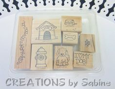 stamping up dog stamps | Stampin Up Rubber Stamp Set I Love My Dog, Puppy, Dog House, Fire ...