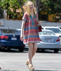 Happy-go-lucky: Actress Elle Fanning, 18, appeared unfazed by her success while visiting a Starbucks in West Hollywood on Tuesday