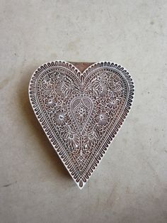 Love Heart Block Print Hand Carved