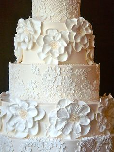 Wedding Cake by Jim Smeal  Buttercream! I would love this with red roses instead of plain white cake
