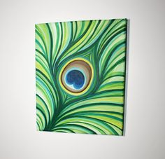 """8"""" x 10"""" Peacock Feather Painting. $18.00, via Etsy."""