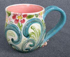 Mooka Garden hand thrown hand painted mug by AfricanWhimsey