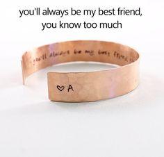 Personalized best friend jewelry hand stamped cuff, custom copper initial best friend bracelet funny