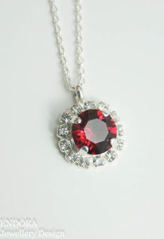 Ruby crystal necklacependant necklacered by EndoraJewellery