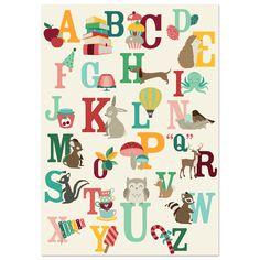 Alfabet Poster Nederlands | ABC | Vrolijk | Dieren | Oktoberdots Shop