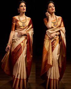 Saree Blouse Designs – Page 2 Gold Silk Saree, Wedding Silk Saree, Red Saree, Kanjivaram Sarees Silk, Indian Silk Sarees, Wedding Saree Blouse Designs, Silk Saree Blouse Designs, Bridal Sarees South Indian, Indian Wedding Sarees
