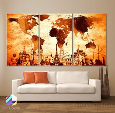 "LARGE 30""x 60"" 3 Panels Art Canvas Print Original Wonders of the world Map Old Vintage Wall decor Home interior (Included framed 1.5"" depth)"