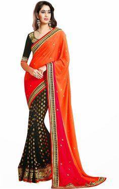 Picture of Butta Black, Deep Orange and Pink Color Saree