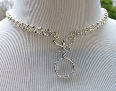 925 Sterling Silver Discreet BDSM Slave Collar, Chainmaille Submissive Day Collar with O Ring and Fleur De Lis by thecagedflower.com