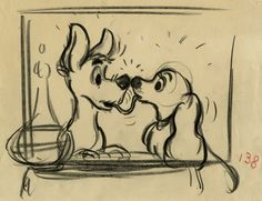 Lady and the Tramp story sketches - Joe Rinaldi Disney Dogs, Old Disney, Disney Art, Disney Pixar, Disney Sketches, Disney Drawings, Animation Sketches, Disney Animated Films, Color Script