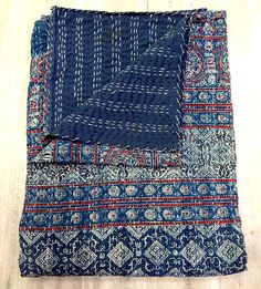 Ajrak Handmade Quilt Indian Block Print Kantha Quilt by eLcrafto, $59.99