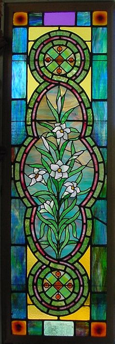 Antique American Stained Glass Window with wonderful glass throughout ...