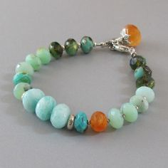 Peruvian Opal Amazonite Carnelian Bracelet Czech by DJStrang