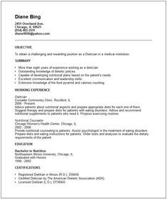 Nutritionist Resume Sample | Resume | Pinterest | Resume