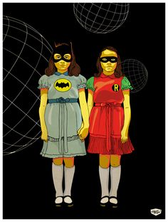 The Grady Daughters from Stanley Kubrick's The Shining dressed as Batman and Robin. Artwork by Elian Tuya Villena. Batman Y Robin, Im Batman, Stanley Kubrick, Geek Culture, Pop Culture, The Shining Twins, Cinema Tv, Cultura Pop, Street Artists