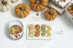 :: Crafty :: Clay :: Bakery :: Autumn Round Metal Cookies Box Pumpkin-Foliage by PetitDlicious