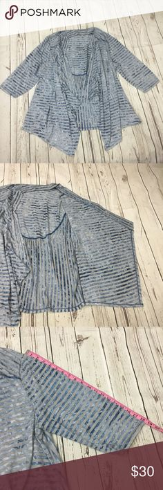 🌼Avenue womens open front cardigan Avenue women's open front cardigan,  Color gray with blue stripes 3/4 sleeve Size 14/16  Please see photos for measurements, fabric care and content. Avenue Sweaters Cardigans