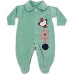 Macacão de Plush para Bebê e Recém Nascido Menino Verde - Travessus :: 764 Kids | Roupa bebê e infantil