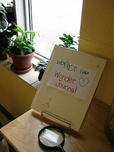'Wonder journal for younger classes to practice writing in. Random idea: for older ages, make a 'wonder book' that holds topic ideas for their writing if they are having writer's block. It leaves them with a wider variety of ideas.
