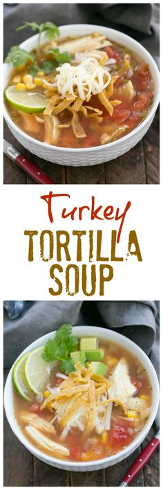 Leftover Turkey Tortilla Soup | A hearty soup that utilizes leftover Thanksgiving turkey! @lizzydo