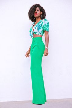 Style Pantry | Print Tie Front Crop Top + High Waist Wide Leg Pants