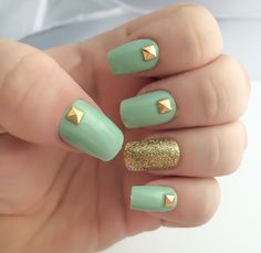 Mint Fake Nail Set, Studded False Nails, Glitter Acrylic Nails, Gold Artificial Nail, Press On Nails - Glue On Nails - Gifts For Her  These amazing mint fake nails are the epitome of classy nail art. A gorgeous mint nail polish has an accent nail of gold glitter, and every mint nail has a gold pyramid stud, creating a stunning set of press on fake nails that would look amazing on you.  More geometric nails can be found here: https://www.etsy.com/shop/LetThemSparkle?section...
