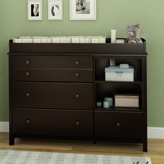 Enhance the look and functionality of your baby's changing area with the South Shore Little Smileys Dresser Combo. The changing table is made from wood and non toxic material that makes it safe, sturdy and durable. It has two open storage spaces, a detachable shelf and three large storage drawers that can be used to keep your baby's talcum powder, soap and shampoo. The drawers have new and improved drawer bottoms made from wood fibers. Its changing station is removable and...