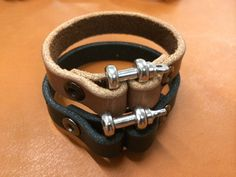 mens leather bracelet -- leather cuff -- black leather bracelet -- oil tanned leather