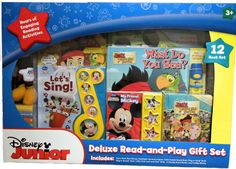 Disney Junior Deluxe Read-and-Play Gift Set - 12 Book Set Featuring Jake and the Never Land Pirates and Mickey Mouse - Includes a Cuddly Plush Mickey Mouse Doll. Disney Junior 12 book set provides hours of engaging reading activities for your little boy or girl. Includes Piano Book Mini-Deluxe (Mickey's Piano Party), Flashlight Adventure Book (What Do You See?), Little Handle Sound Book (Jakes Treasure Chest), Play-a-Song Book (Let's Sing), Play-a-Sound Book (My Friend Mickey) and Little...