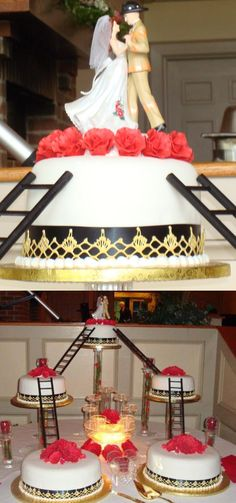 Firefighter-Themed Multi-Tier Wedding Cake   Shared by LION