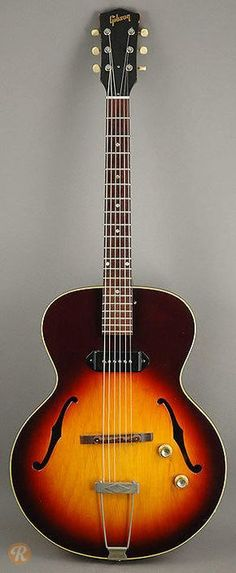 The ES-125 evolved out of the ES-100 in 1941 and was produced until 1943. Upon its reintroduction in 1946, the ES-125 changed in a number of ways including a wider body, a new P-90 pickup, and trapezoid inlays. The ES-125 was updated again in 1950 with an adjustable P-90 pickup and dot inlays. Th...