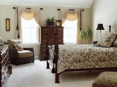 - Bedrooms on HGTV - Taupe, black, white and brown rule in this master suite. The toile bedding coordinates with the paper on the accented wall. An Asian element is introduced in the rattan reading chair and accessories.