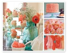 Coral. turquoise. I love these colors together, maybe peach and turquoise, they would make cute wedding colors
