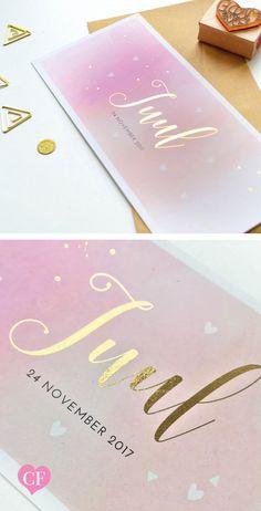Watercolor geboortekaartje Juul met goudfolie // goud met aquarel / lief geboortekaartje meisje