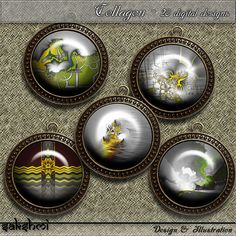Fraktalkunst - Set 7 – Digital Design - 20 Buttons zum Ausdrucken und das Originalbild für eigene Kreationen. 300 DPI