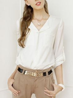 Pretty White Chiffon Blouse